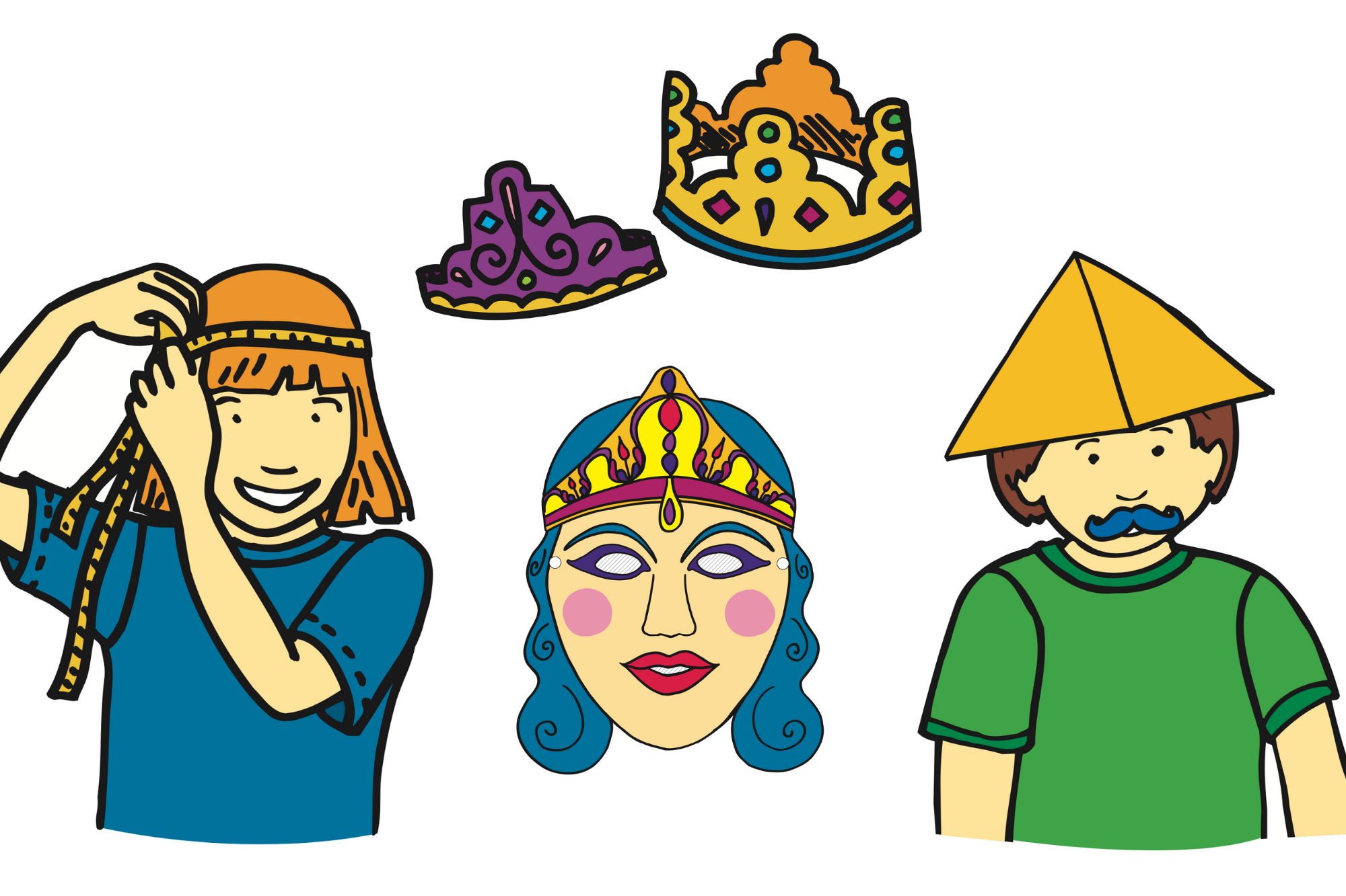 Crowns, Hats and Masks